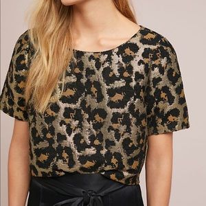 Anthropologie Metallic Jacquard Leopard Top